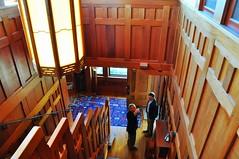 Delloakes Hallway (sfPhotocraft) Tags: california ca door house stairs hallway architect lookingdown frontdoor artsandcrafts 2013 tedbosley gamblehousestudytour