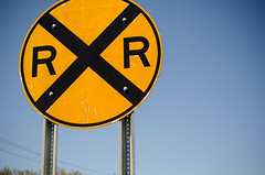 Railroad Crossing ahead (m01229) Tags: signs minnesota sign yellow railroadcrossing d7000 nikon40mm