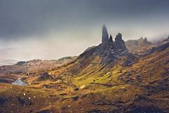 Peaks in the storm (David Pinzer) Tags: uk cliff mist mountain snow storm weather rock misty fog landscape scotland scenery wind foggy peak windy rough isleofsky storr