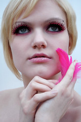 8 (ladeeeeda) Tags: pink bird girl hair nude lashes feather makeup piercing short blonde piercings