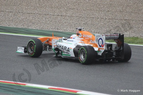 Paul Di Resta in his Force India in Free Practice 1 at the 2013 Spanish Grand Prix