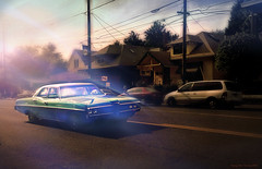 Bonneville in Hawthorne District (Stacy Ann Young) Tags: street houses light art print classiccar cruising pdx glowing pontiac bonneville bluegreen lateday thewholebowl stacyannyoung