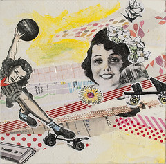 Roller Lady (itsme design) Tags: original newyork schilder sport collage japan lady illustration neon assemblage kunst retro frau diva vogel fliegen maskingtape kopf kleben schwarzweis