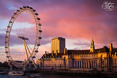 London Eye Sunset (Paki Nuttah) Tags: city uk light sunset england building london eye thames architecture clouds buildings river boat europe cityscape gb