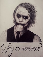 The Joker (INactyArt) Tags: blackandwhite art smile drawing makeup tie suit messyhair darkknight heathledger thejoker whysoserious