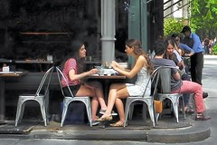 tarte du jour (omoo) Tags: newyorkcity girls french legs westvillage streetscene bistro sidewalk bakery shorts summerdress miniskirt girlfriends beautifulgirls prettygirls greenwichvillage tartine sidewalkdining dscn2986 tartedujour frenchfare 253west11thstreet girlsatlunch westfourthatwest11th