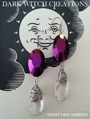 VIOLET LADY (Dark Witch Creations) Tags: blackandwhite sun moon glass stone point shiny magick purple crystal handmade witch antique ooak no yes magic violet indigo lavender royal jewelry drop fortune jewellery divine lilac fancy mauve hippie amethyst boho quartz gypsy witchcraft bohemian gem witchy esoteric lavendar ouija divination planchette darkarts witchboard