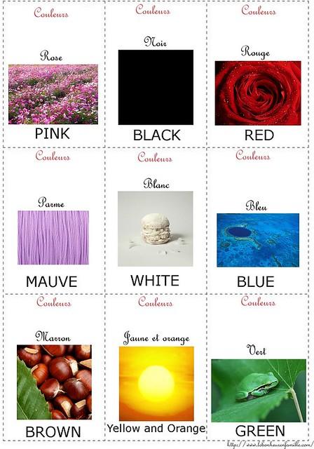Cartes d'anglais couleurs AAAAAAAAAAAAAA