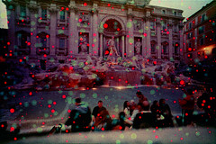 Trevi Fountain (pho-Tony) Tags: old rome analog 35mm lens 1 xpro lomography cross crossprocess slide spot spots chrome ii fungus damage blob analogue halfframe fullframe process agfa expired ultrawide e6 glitch splatter blend rsx deterioration reversal agfachrome 17mm ultrawideangle agfarsxii superwide e6inc41 lcwide lomolcw lomolcwide minigon17mm minigon