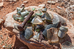 100 Year Old Relicts (Serendigity) Tags: glass mine desert australia mining bolt outback pioneer northernterritory fragments relicts arltunga historicalreserve eastmacdonnellranges jokergoldmine