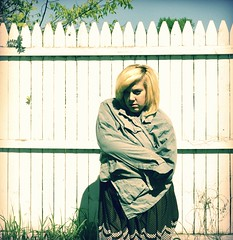day 006. (H o l l y.) Tags: life summer portrait house self fence hair this is big paint sad sunny dirty days clothes blonde change depressed stains 100 goodbye such