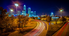 Charlotte City Skyline night scene (DigiDreamGrafix.com) Tags: city sunset urban copyright skyline modern buildings lights nc cosmopolitan neon skyscrapers charlotte dusk south towers northcarolina business national convention metropolis southeast dnc charlottenc democraticconvention democratic banks offices 2012 illuminate finance democraticnationalconvention dazzling copyrighted 21stcentury boomtown