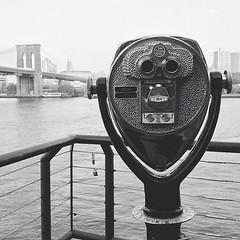 Look (B.C. Angell) Tags: nyc newyorkcity blackandwhite bw newyork tower monochrome square southstreetseaport squareformat brooklynbridge viewers coinoperatedbinoculars iphoneography instagramapp uploaded:by=instagram foursquare:venue=3fd66200f964a520daf11ee3 vscocam