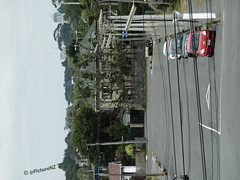 All Tied Down (Steve Taylor (Photography)) Tags: road street newzealand christchurch house cars canterbury cables wires nz southisland poles sideways newbrighton roadmarkings tieddown ontheline wrongwayup