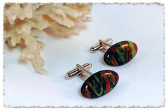 Red/Green/Black Long Oval Cufflinks