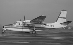 Aero Commander 680F G-ATWN, Southend, UK, 02 Dec 1968 (goring1941) Tags: airplane aircraft southend aero twinengine southendairport aerocommander egmc gatwn