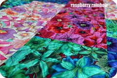 Quilted, the back. (The Land of the Raspberry Rainbow) Tags: family grandma hk flower colour love floral march blog quilt handmade fabric april imadethis petunia granny petunias madewithlove 2013 raspberryrainbow wwwraspberryrainbowcom