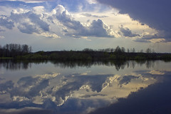 downside up, upside down (Sergey S Ponomarev) Tags: sky nature water clouds canon reflections landscape spring russia outdoor ngc rivers polarizing 600d vyatka sergeyponomarev