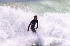 In the waves (sbisson) Tags: ocean california beach losangeles boards pacific surfer wave riding surfboard manhattanbeach suring