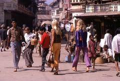 Hippie Chicks, Kathmandu, Nepal, 1969 (bmthomas1944) Tags: nepal 1969 kathmandu overland durbarsquare hippiechicks hippietrail colombotolondon