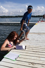 Swim Test (camptannadoonah) Tags: sun sports water kids america swimming fun waterfront friendship michigan lifeguard safety redhead campfire learning activity campers lifeguarding vandalia clipboard birchlake campfireusa swimmingtest camptannadoonah
