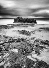 Rocky Shore - Long Exposure (Scott Sharick) Tags: ocean longexposure bw cloud mist rock hawaii us blackwhite oahu unitedstatesofamerica smooth shore hi hawaiikai