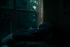 it's morning (terrorsaurus) Tags: morning light sun window sunrise lights bed bokeh christmaslights blanket fairylights comforter