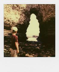 the sea cave (Dandy's Warden) Tags: ocean sea england film vintage polaroid sx70 instant cave analogue polaroidsx70 flamborough px70 impossibleproject theimpossibleproject believeinfilm px70colorpretection