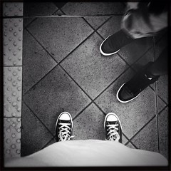 u n me (PiecesofmeJen) Tags: newyorkcity blackandwhite feet june subway square us spring converse squareformat kicks adventures iphone fromwhereistand iphone4 iphoneography uploaded:by=flickrmobile flickriosapp:filter=nofilter