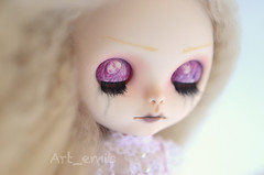 Tien (Art_emis) Tags: new light art girl make up angel work doll long hand sad handmade drawing ooak painted blond mohair blythe mold custom simply sparkly spark takara eyelids fbl reroot reshaped