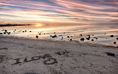 Sentiment in the sand (Kens Photos in Australia) Tags: vision:sunset=0728 vision:outdoor=0771 vision:clouds=0615 vision:ocean=0752