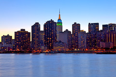 New York Blue (SunnyDazzled) Tags: city nyc longexposure newyork lights evening twilight cityscape skyscrapers manhattan eastriver empirestatebuilding