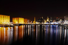 Liverpool Albert Dock at Night (Will Charlton) Tags: reflection night liverpool dark dock long exposure sony albert liver builiding rx1