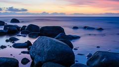 Blue sunset (Jesper Alvermark) Tags: ocean longexposure sunset sky water reflections nikon rocks stones d7000 flundreviken