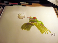 red-eyed tree frog - 1er essai (François Berthet) Tags: red tree green pen drawing frog bubble eyed amphibians bulle letraset pigma promarker