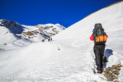 Trekking In the Himalayas, Crossing Thorong La Pass, Annapurna Circuit, Nepal (Feng Wei Photography) Tags: travel nepal panorama mountain snow color horizontal trek landscape asia outdoor scenic remote annapurnacircuit annapurna himalayas trekker manang gandaki thorungla thorongla annapurnaconservationarea
