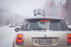 Mini in the snow (Playing_with_light) Tags: street light red white snow storm cars nikon traffic plateau montreal snowstorm mini cooper flakes montroyal stopped d800
