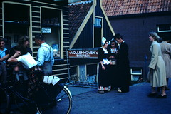 1949-  Volendam- Girls in Costume- Holland (foundslides) Tags: pictures camera trip vacation holiday holland color colour film tourism netherlands dutch vintage photography europa europe pix photographer tour photos kodak pics nederland pic tourist slidefilm waterloo 1940s louise snaps transparency kodachrome slides foundslides nationalcostume oldphotos nederlands irma 1949 waterland photog transparencies rudd periodcostume northerneurope redborder johnrudd irmalouisecarter irmalouiserudd
