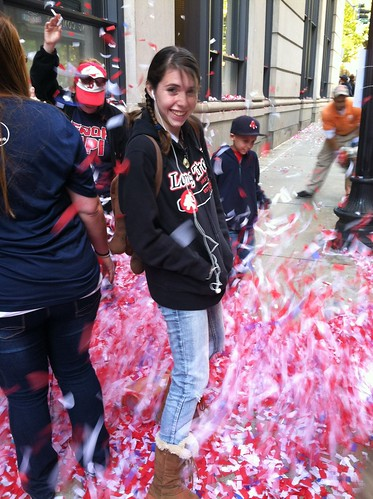 My daughter, in the middle of a victory confetti storm!