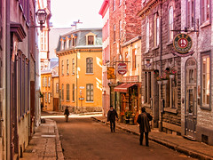 late afternoon (JimfromCanada) Tags: road street old sun sunlight shopping quebec antique pastel jim smith shops pedestrians shoppers sidestreet kurtpeiserexcellence