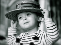 Old for New (jayneboo) Tags: old family portrait bw hat vintage memories granddaughter roni boater schoolhat