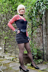 Outside in the garden before it rains today (Miss Nina Jay) Tags: tights skirt heels trannie