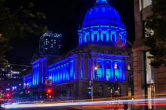 polk at mcallister street (pbo31) Tags: sanfrancisco california city blue urban panorama black color night dark spring nikon traffic cityhall may large panoramic illuminated bayarea stitched civiccenter tenderloin roadway 2016 lightstream autismawareness boury pbo31 d810