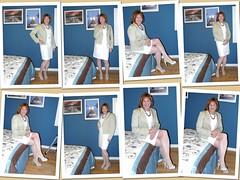 White is for Spring (krislagreen) Tags: white dress cd femme tan hose redhead tgirl transgender jacket transvestite crossdress tg patent feminization slingbacks feminized opentoepumps turbocollage