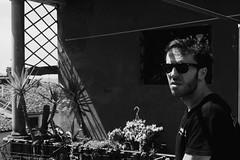 Pausa (Aliprando) Tags: blackandwhite sun man outside sadness casa uomo sole ritratto terrazzo occhiali pausa