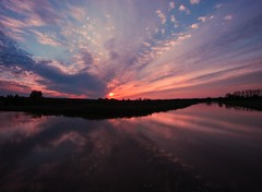 Quiet sunset moments (M a u r i c e) Tags: trees sunset sky cloud sunlight nature water netherlands reflections pond pattern dusk wideangle polder efs1022mm ultrawidezoom