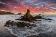 Pointing Up! (Blai Figueras) Tags: longexposure sunset sea sky panorama costa sun seascape beach water clouds landscape atardecer coast mar seaside sand agua rocks flickr stones horizon atmosphere playa paisaje le cielo paraiso cabodegata rocas