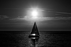 sailing at sunset - Tel-Aviv beach (Lior. L) Tags: sunset beach monochrome silhouette sailboat blackwhite telaviv sailing