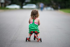 Summer Evening (Northwest dad) Tags: road street summer cute girl evening nikon outdoor tricycle curls tamron f28 d800 70200mm