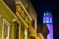 coit tower in purple for alzheimer awareness on the longest day of the year (pbo31) Tags: sanfrancisco california city summer black color june yellow night dark nikon purple coittower bayarea telegraphhill awareness alzheimer 2016 boury pbo31 d810